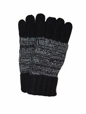 BRIONI Italy Men's Black White 100% Cashmere Knit Tweed Gloves M