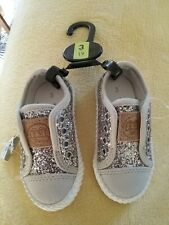 NEXT Baby Girls Silver Trainers / Plimsole Size 3, Bnwt