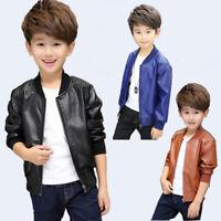 Kids Toddler Boys Fleece Leather Jacket Motorcycle Biker Coats Thicken Outerwear