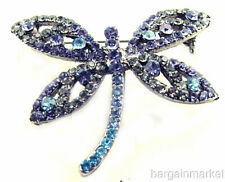 Amethyst Purple Multi Crystal Dragonfly Bug Brooch