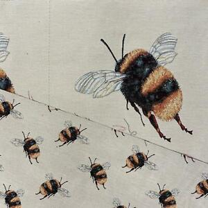 Bumblebee Panel, Colourful Cotton Linen Look Craft Fabric Upholstery Fabric