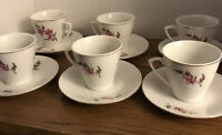 C. Art HK Demitasse Cups & Saucers,Vintage Set of 6 Floral with Gold Trim.
