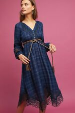 Anthropologie Plaid Kerchief Dress By Akemi + Kin, Blue, Size 2, NWT
