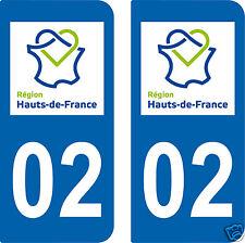 2 STICKERS style PLAQUE D'IMMATRICULATION Département HDF 02 HAUTS-DE-FRANCE