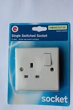Box 5 X Homebase White Slim Profile 13A 1G Single Switched Sockets + screws caps