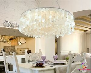 Mediterranean Style 60cm Shell Round Living Dining Pendant Chandelier Lamp