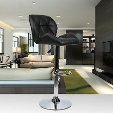 Set of 2 Bar Stools PU Leather Modern Hydraulic Swivel Dinning Chair Black Home
