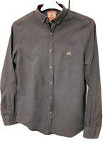Baracuta Grey Brushed Cotton Mens Shirt, Tartan trim small logo Size Small