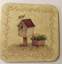 Longaberger Set Of 6 Coasters New Corked Backed Bird House and Basket