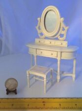 1/12 VINTAGE WHITE WOODEN DRESSER WITH MIRROR ONE DRAWER OPENS/CLOSES + STOOL
