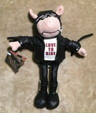 NWT Amscan Party Pals Love to Ride Hog Plush Beanie Pig Biker Leather Jacket 10""
