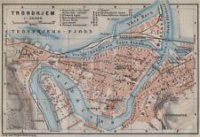 TRONDHEIM Trondhjem antique town city byplan & environs. Norway kart 1912 map