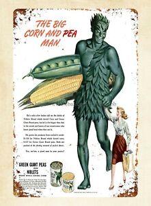 1945 big corn and pea metal tin sign home kitchen wall lodge cafes