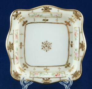Nippon Square Ice Cream Dish Trinket Tray Hand Painted Pink Flowers Gold Roses