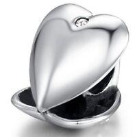 NEW Genuine 925 Sterling SIlver SS Heart Locket CZ Charm LHQ2805
