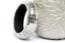 Women's Fashion Silver Mirror Wide Cuff  Bangle Bracelet Silver