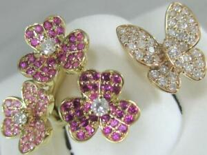 DIAMOND PINK SAPPHIRE 14K GOLD FLOWERS BUTTERFLY BETWEEN THE FINGER RING R5984