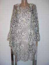 Italy Lagenlook Kleid Tunika Empire Boho Impressionen SEIDE White Black EG 40-44