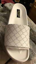 JUICY COUTURE White Leather Logo Sliders Sandal Shoes Size 7 RRP £85 New In Box