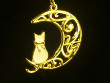 Cat Earrings dangle style 1inch in dia., stainless steel, white cat