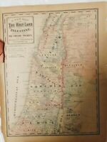 1881 Old Testament Bible Map of Palestine Israel w/divided among THE 12 TRIBE'S