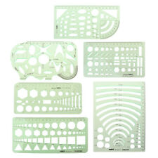 6Pcs Drawing Plastic Templates Measuring Geometric Jewelry Design Rulers Green