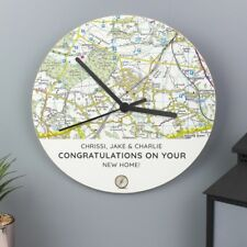 Personalise Your Own Postcode Map Wooden Clock Add Any Message Unique Gift