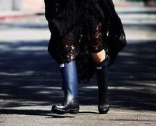 Hunter Limited Edition Rag & Bone Black-Blue Two-Tone Rubber Rain Zipper Boots