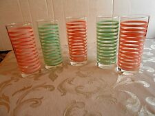 60's Vintage Highball Ocean Thailand glasses SET OF 5 PINK/TEAL Stripes V.NICE