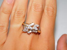 Sparkling CZ Rhinestone Cascade Cluster Gold tone Cocktail sz 8.75 Ring 9g 70