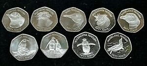 Falkland Islands 9 Nine Coin Penguin 50p Fifty Pence Coin Set UNC In Capsules