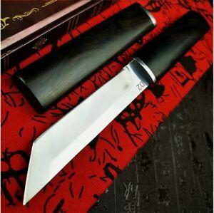 Tactical Straight Knife Knives Japanese Samurai Ebony D2 Steels Hunting Vintage