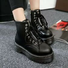 Lady Punk Combat Lace Up Strap Ankle Riding Boot Platform Motor Shoes Yooocart