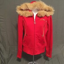 WOMANS NWOT RED COOGIE SPANDEX STYLISH FUR HOODED ZIP UP JACKET SIZE M