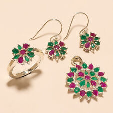 Natural Ruby Emerald Ring Earrings Pendant 925 Sterling Silver New Year Jewelry