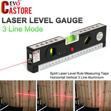 Laser Spirit Level Rule Measuring Tape Aluminium Horizontal Vertical 3 Line