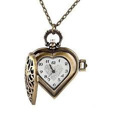 Fashion Brass Necklace Pendant Skeleton Heart Lady Girl Quartz Pocket Watch