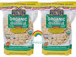 2 Packs Coach's Oats Organic Oatmeal Original Cracked & Toasted Oats 72 oz Each