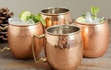 4 Moscow Mule Hammered 100% Pure Solid Copper Drinking Mug Set 18 oz Cup Brass