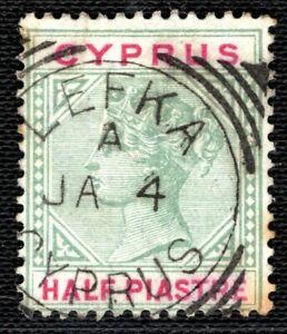 CYPRUS QV Postmark *LEFKA* Scarce SQUARED CIRCLE Superb Strike ½p Stamp LGREEN57