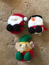 "Lot Of 3 Christmas Puffkins Santa Snowman Elf Plush 5"" New"