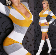 Sexy Streifen Strick Long Pullover Pulli Mini Kleid Gr. 36 - 40