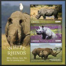 Liberia 2019 MNH White Rhino Rhinoceros 3v M/S Fauna Rhinos Wild Animals Stamps