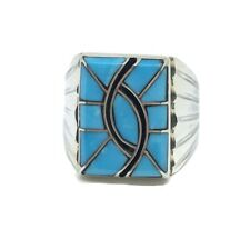 """N. LEE Sterling Silver - Inlaid Turquoise Native American Ring """"Zuni"""" Size 11"""