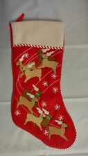 "Martha Stewart Christmas 'Red REINDEER' Stocking, 18"" Tall, Holiday"