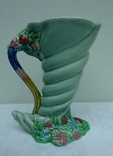 Clarice Cliff Vase Shell Design Newport Pottery Green Floral Design Jug