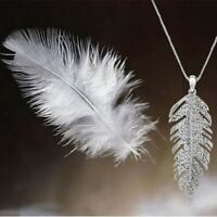 Crystal  Bohemian Necklace Feather  Glamour Women  Leaf  Pendant Rhinestone