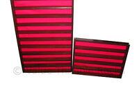 100 thimble display rack in dark oak with red felt back