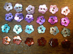 """Vintage Buttons 3/8"""" Mother of Pearl  6 pcs Flowers Made in USA"""