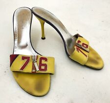 VTG Womens DOLCE GABBANA Yellow Red Leather Sandals Sz 38.5